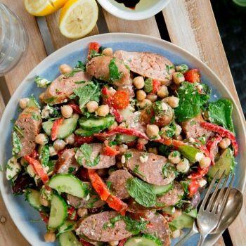 Greek-style Lamb Sausage Salad
