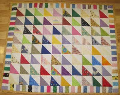 Colored Triangles Baby Quilt and Bib set
