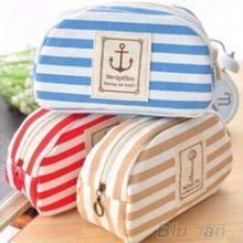 Multifunción viaje marina estilo de cosméticos estuche de maquillaje neceser bolsa con cremallera Pen Case 1U5O(China (Mainland))