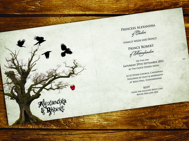 snow white and the huntsman style wedding invitations