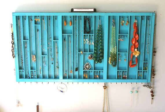 Jewelry Display in Distressed Teal by bluebirdheaven on Etsy,
