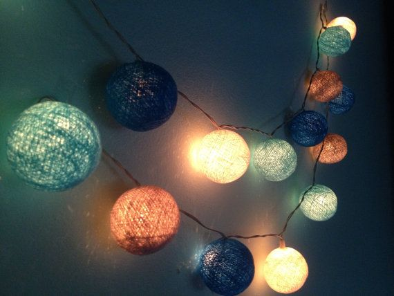 Cotton Ball Lights For Home Decor Party Decor Pieces Indoor String Lights Bedroom Fairy Lights Blue White Light Blue