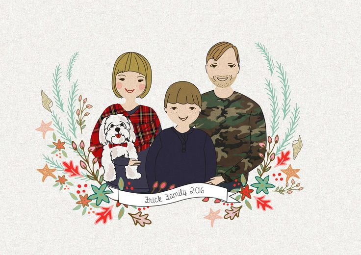 Illustrated Portrrait of a cute family Illustration by Szonja Kiss / Be My Paper