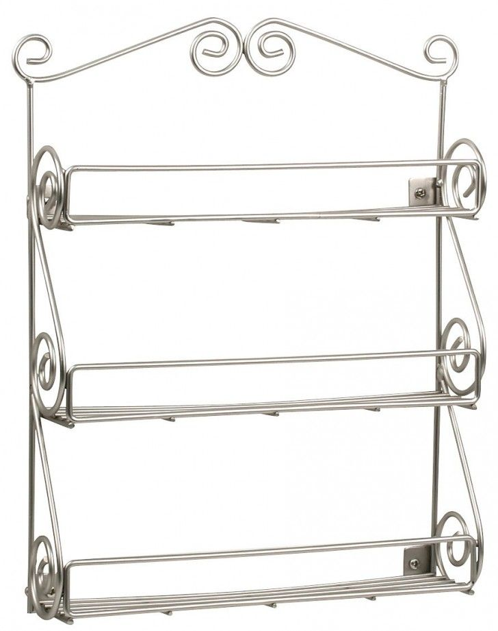 Vintage Wire Silver Wall MOunted Spice Rack With Unique Curved Style Holder Also Three Levels To Save The Spice Jars For Wall Hanging Kitchen Accessories Decorating Ideas The Best Of The 36 Wall Hanging Spice Rack Accessories Decorating Ideas Furniture