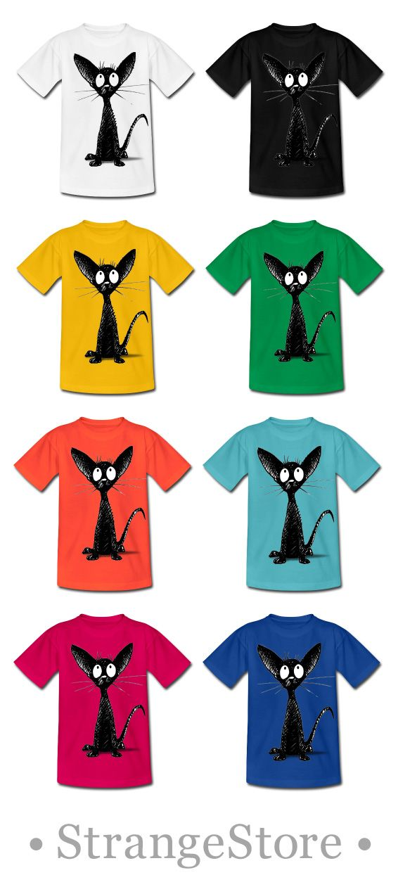 ★ StrangeStore on Spreadshirt! ★ Simple colourful kids and adult t shirts from StrangeStore by Paul Stickland #strangestore #cats #kids #fashion #blackcats #orientalcats