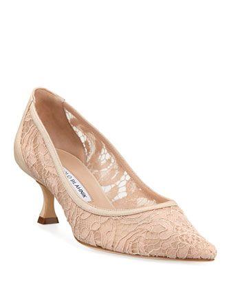 7b58f119a Srila Lace Kitten-Heel Pumps | wedding drsses | Pumps heels, Manolo ...