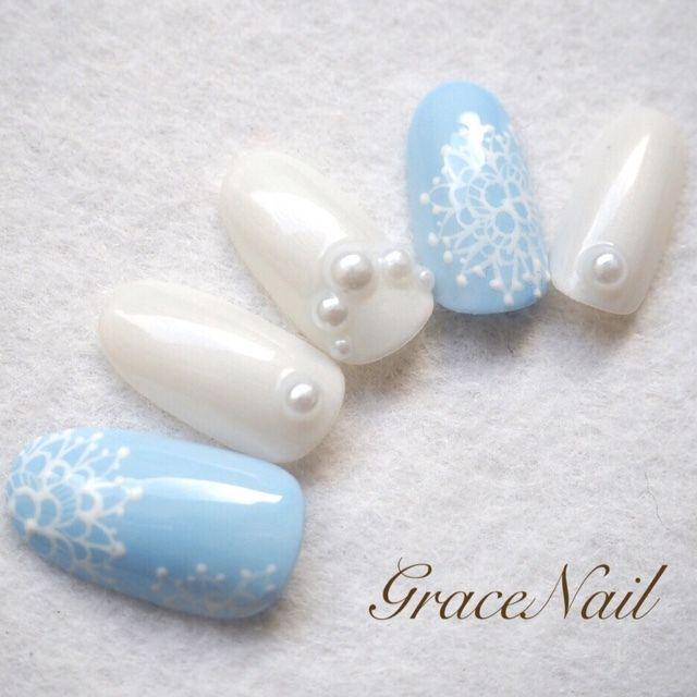パールやレースがお嬢様っぽい♡ 青い花嫁衣装に合うネイルまとめ。ウェディングドレス・カラードレス・色打掛に合うネイル一覧。