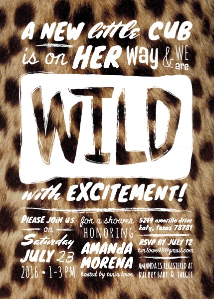 Wild Cheetah Print Baby Shower Invitation