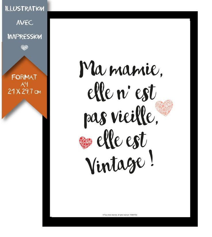 Affiche - Grand Mère - Format A4 - 21 X 29,7 cm : Affiches, illustrations, posters par affiche-rgb4you #mamie #grandmere