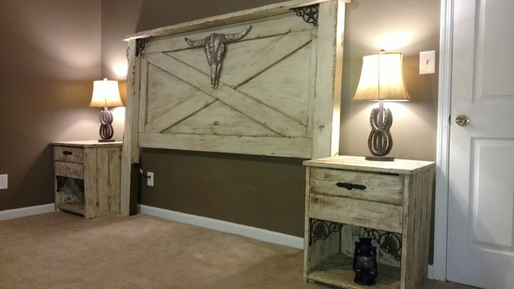 Rustic western headboard and night stands. Painted with Dixie Belle chalk paint