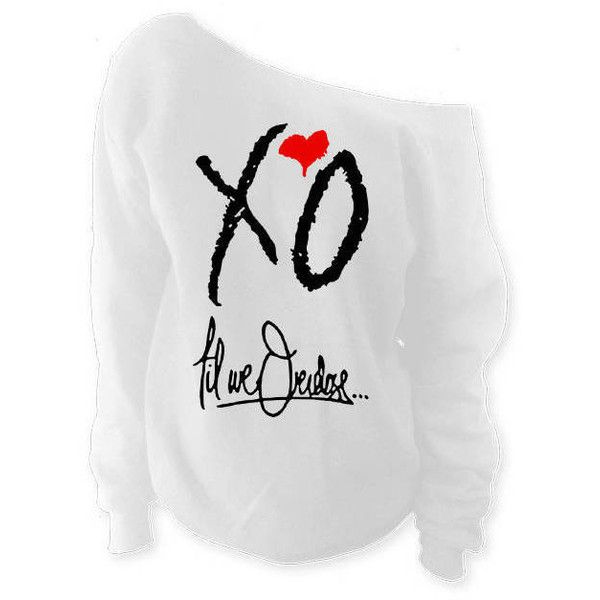 The Weeknd Clothing Inspired Xo Oversized Slouchy Off Shoulder... (175 DKK) ❤ liked on Polyvore featuring tops, hoodies, sweatshirts, silver, women's clothing, off-shoulder sweatshirts, off the shoulder shirts, off the shoulder tops, baggy shirt and oversized sweatshirt