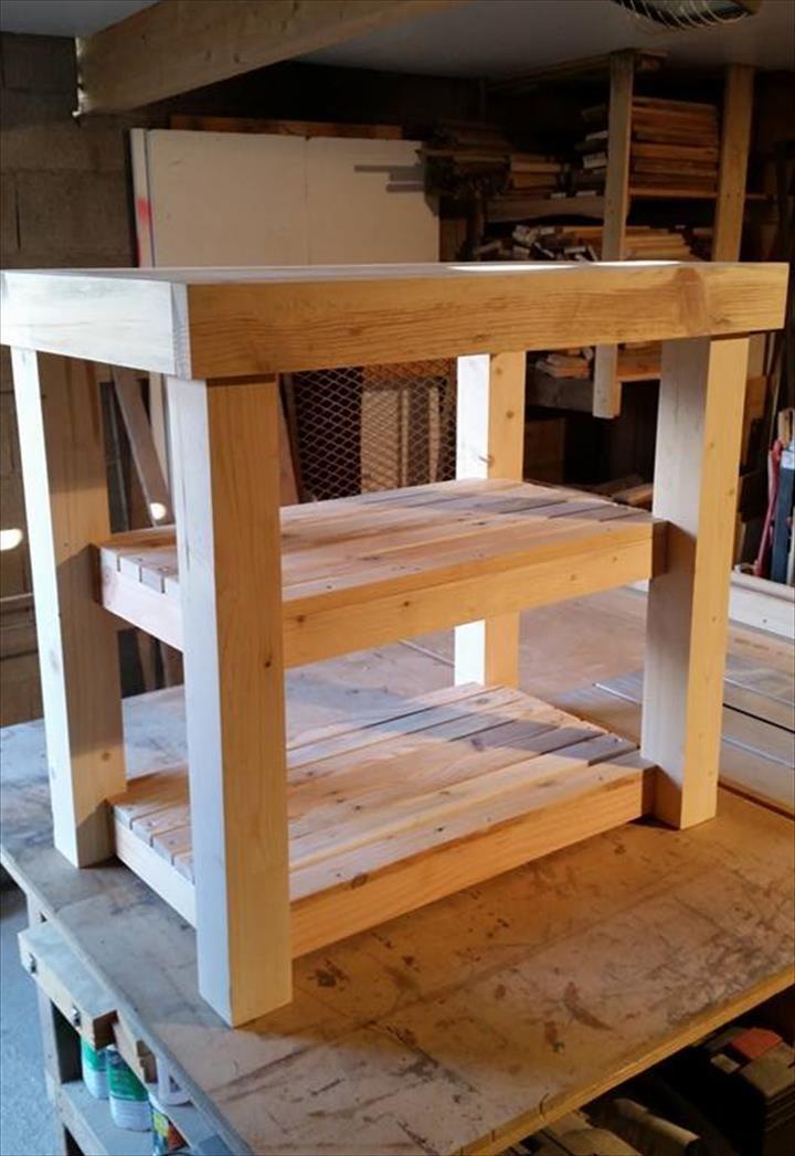 Reclaimed Pallet Kitchen Island Table | Pallet Furniture DIY