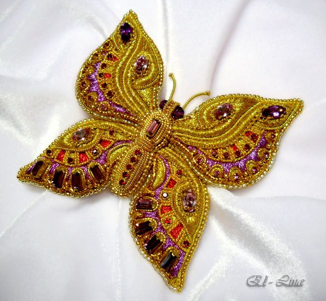 Exquisite goldwork butterfly by Elena Emelina. Her work is really amazing!