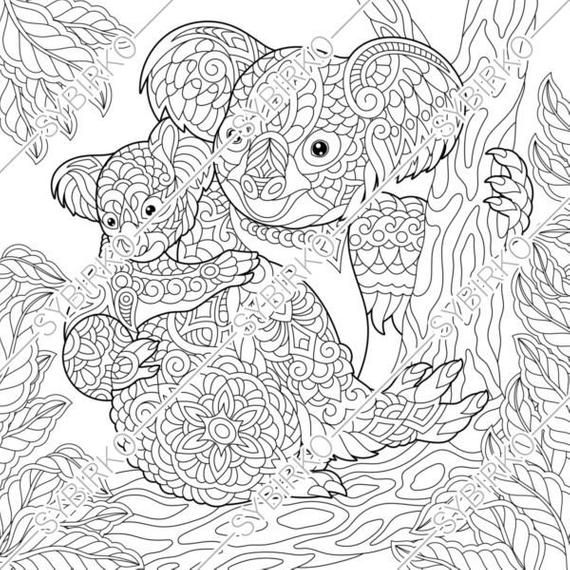 Coloring Pages Koala Bears Family Animal Coloring Book For Etsy Bear Coloring Pages Family Coloring Pages Animal Coloring Pages