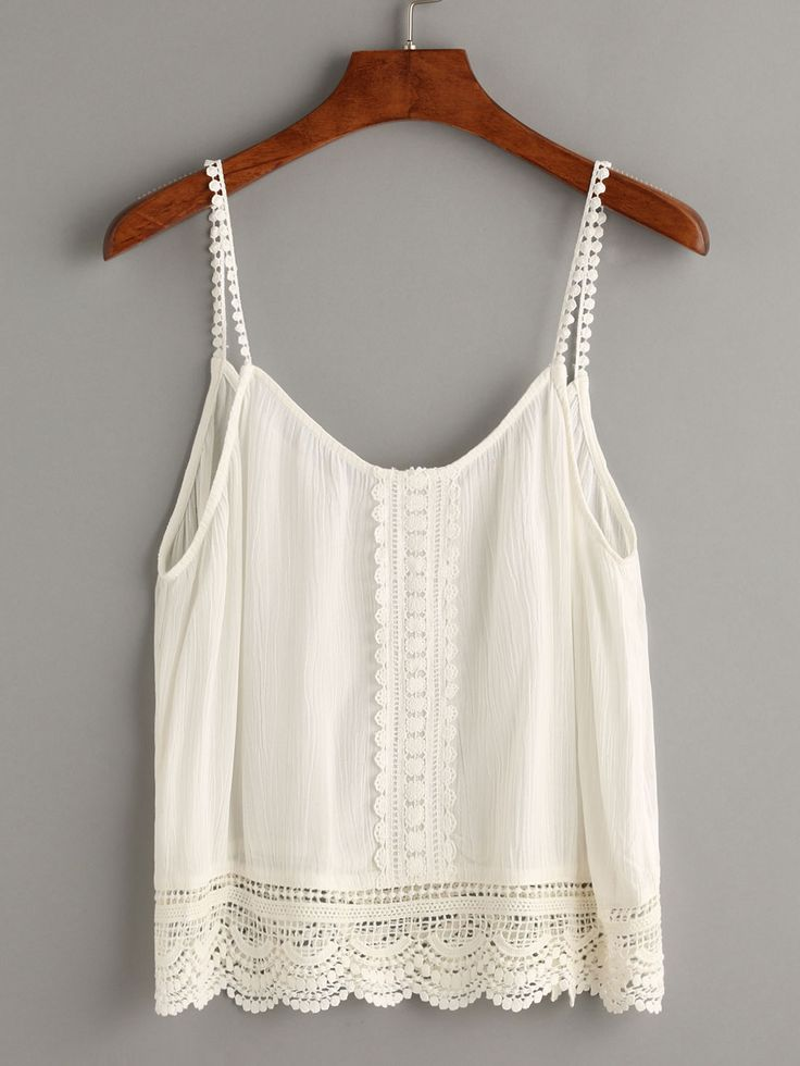 Top crochet hueco cami-(Sheinside)
