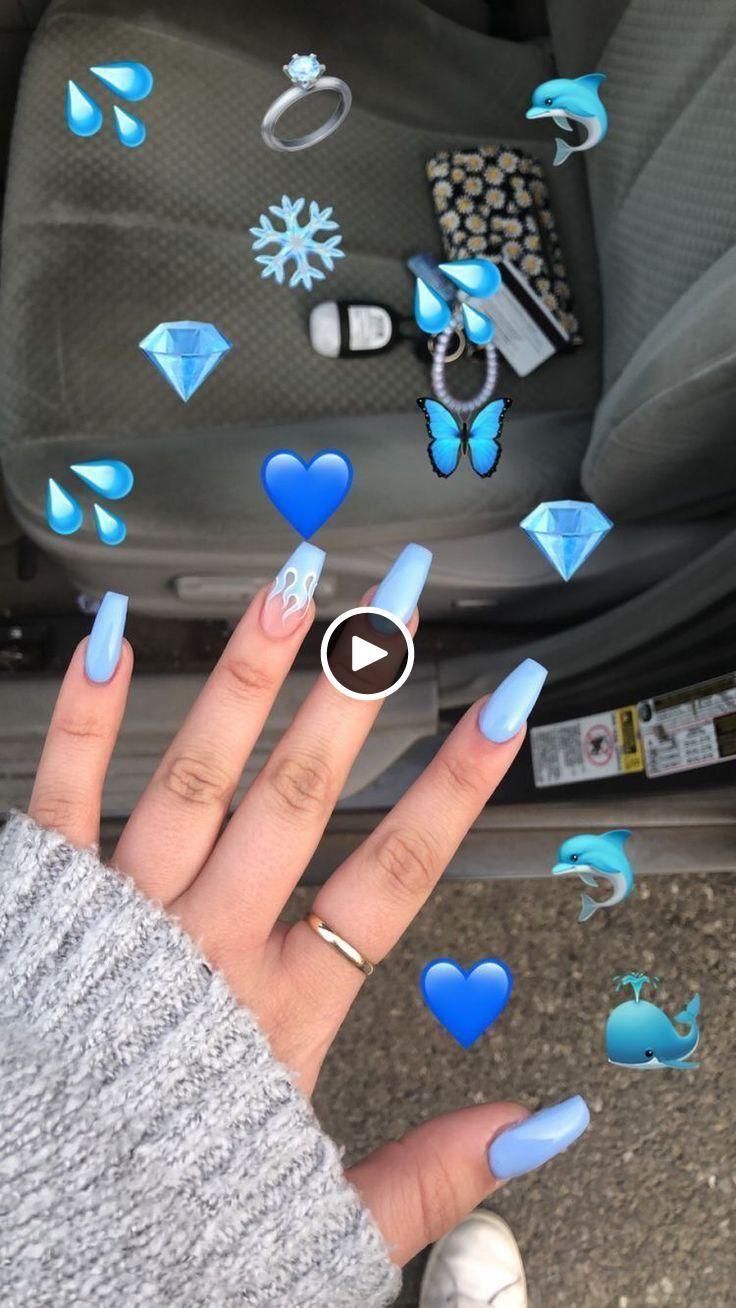 Plus De 50 Designs D 39 Art D 39 Ongles Lumineux Qui Seront Si A La Mode Tout Au Long De Nails Design With Rhinestones Blue Acrylic Nails Best Acrylic Nails