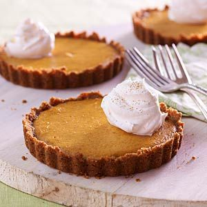 Offer these individual tarts as a reduced-sugar alternative to pumpkin pie at your next holiday meal.