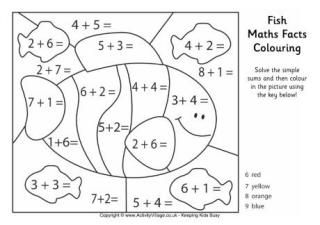 basic addition coloring pages | Math Facts Coloring Page -- Color by sum | Fun math ...