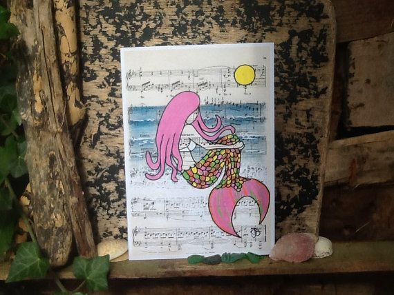 Surf art Syren the Mermaid vintage music sheet greetings card