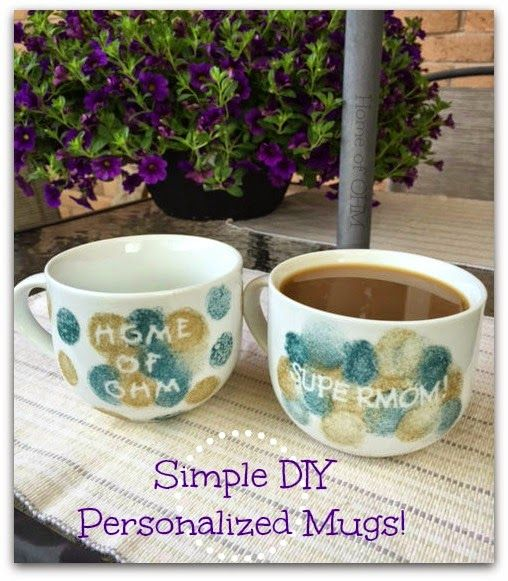 Home of OHM: Simple DIY Personalized Mugs! Great gift, or craft for kids, teacher gift, etc.