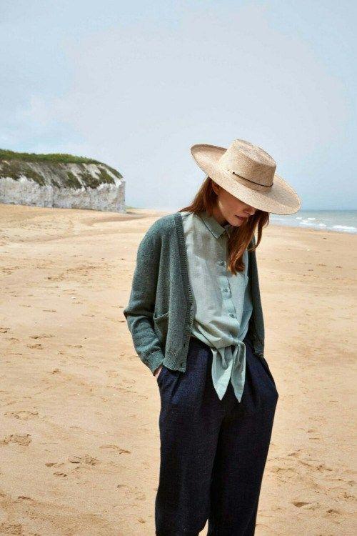 осенний наряд синие брюки и зеленый кардиган Early fall outfit  #style #minimalism #basics #outfits #стиль #минимализм #chic #classic #fall #осеннийлук #модныйобраз