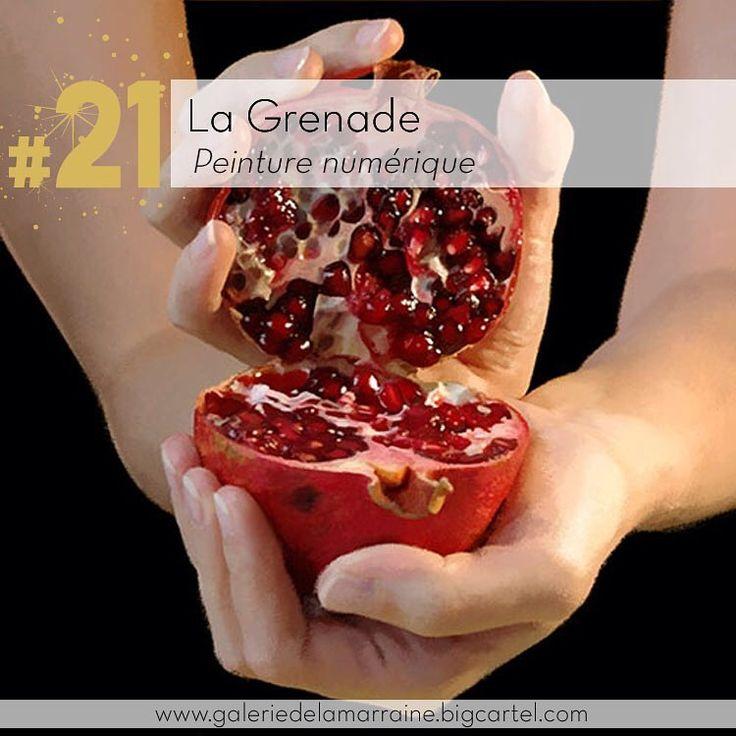Une grenade indécente? Jour 21 . Peinture numérique de Cali Rezo @calirezo_ sur www.galeriedelamarraine.bigcartel.com #galeriedelamarraine #peinturenumerique #calirezo #grenade #calendrierdelavent #fruit