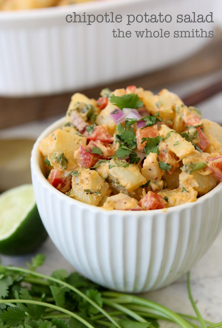 Chipotle Potato Salad from the Whole Smiths. Perfect twist on your traditional version. Paleo friendly, vegan, gluten and grain free!