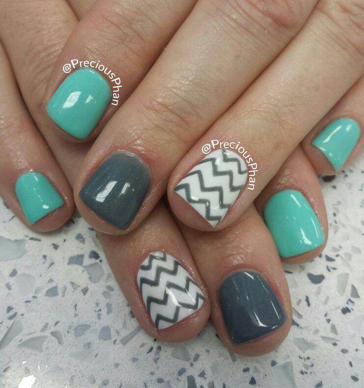 Mint, chevron nails
