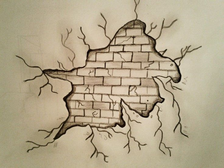 Breaking wall pencil sketch by forma si culoare // shape and color