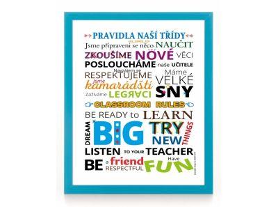 Plakát - Pravidla naší třídy v českém a anglickém jazyce