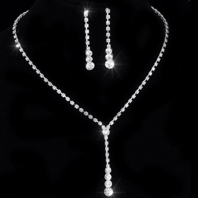 Rhinestone Lariat Choker Necklace and Earring Set