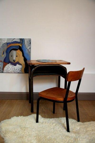 bureau scolaire chaise vintage enfants cole ann es 50 60. Black Bedroom Furniture Sets. Home Design Ideas