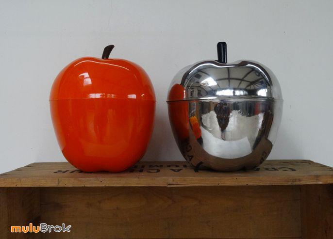 Objet déco Vintage ... Seau à glaçons POMME orange ou métal chromé ... sur www.muluBrok.fr ...