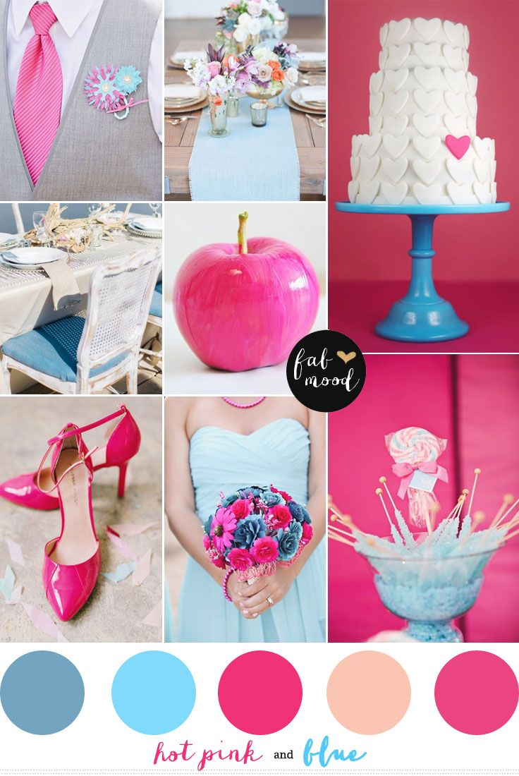 Blue and hot pink wedding colors | http://fabmood.com/blue-and-hot-pink-wedding-colors/