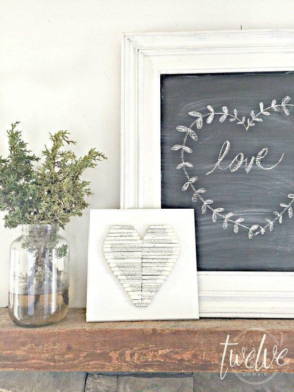 Rolled Book Page Heart Art- Farmhouse Valentines Day Decor