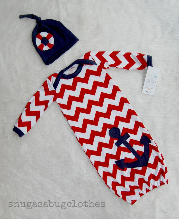 Nautical Anchor and Life Saver Baby Boy Gown by snugasabugclothes, $44.00