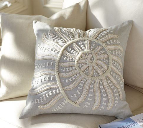 Blue Throw Pillows Pottery Barn : Blue Nautilus Embroidered Pillow Cover Pottery Barn PATTERNS / TEXTURES Pinterest ...