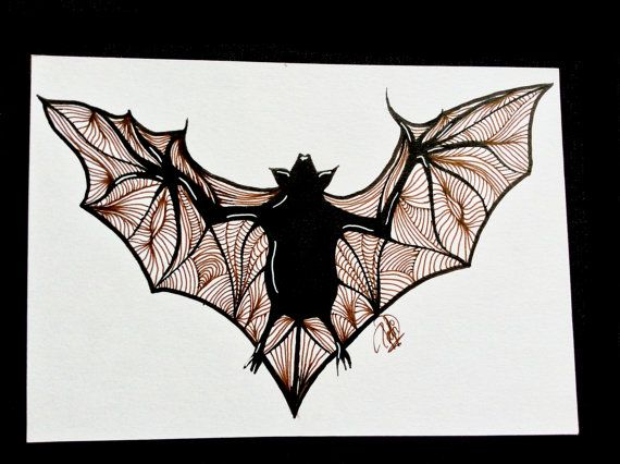 Dibujo de un murciélago Original y firmado. por DrawingsByPatricia
