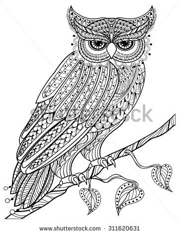Zentangle magic Owl sitting on branch, for adult anti ...
