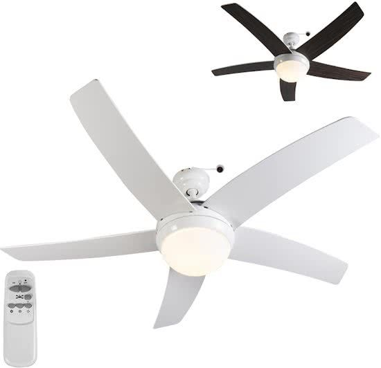 175,- bol.com QAZQA Cool 52 - Plafond ventilator met lamp - 2 lichts - mm - wit