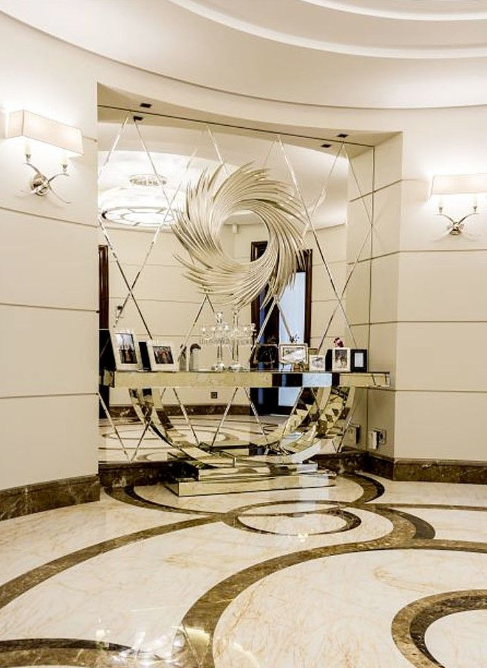 Combination Of Large Scale Diamond Shaped Beveled Gl Mirrors And Custom Tailored Furniture