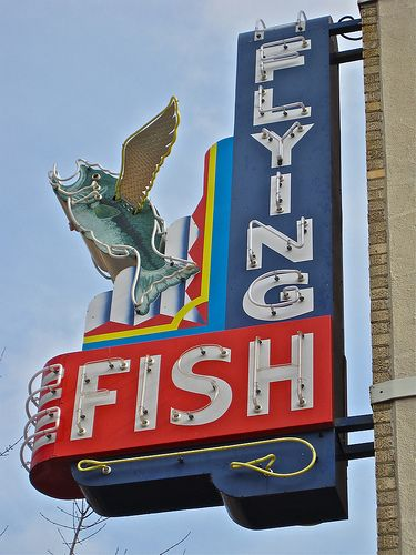 5084 best signs on the road images on pinterest letter for Flying fish little rock