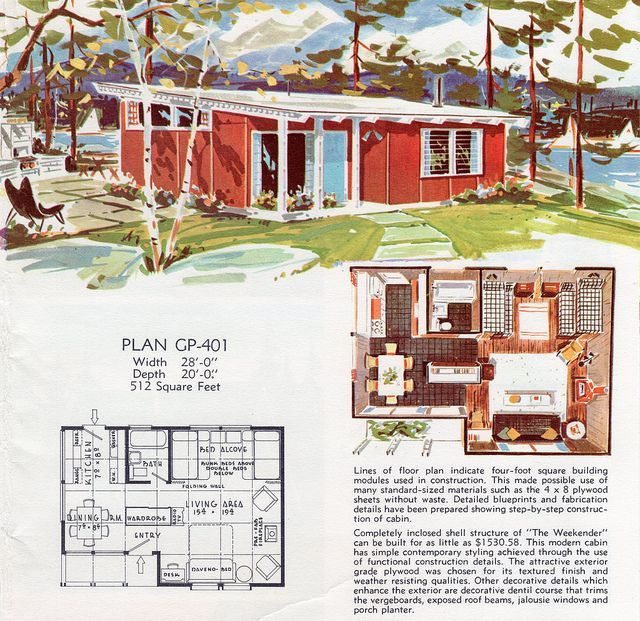1962 Georgia Pacific, via Flickr. Raise the roof and add a loft (accessible by ladder)  over kit/bath/bed for kids = Perfect house for us.