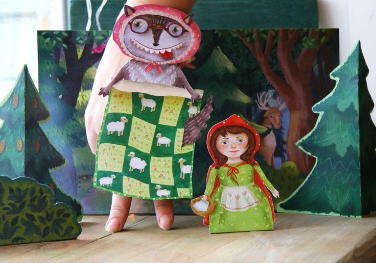 Finger puppets, Little Red Riding Hood, paper toy, paper theatre, craft for kids, digital download,printable kids gift, printable for kids, hand made for kids, paper game, Olga Yefremova, by MyWonderWonder on Etsy