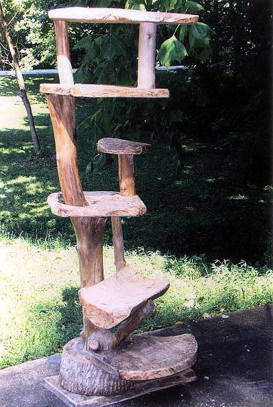 ALL WOOD Rustic 6 level Furwood cat stand that is truly a piece of art ... #cattower - More about Cat Tower at - Catsincare.com!