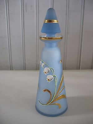 Handpainted-floral-6-034-Blue-Frosted-Glass-Refillable-Perfume-Bottle-with-Dauber