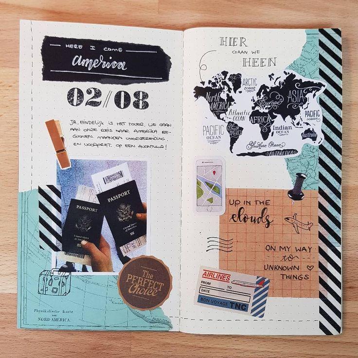 Een pagina die ik had ontworpen voor de travel journal. Zo leuk om eens de reis …