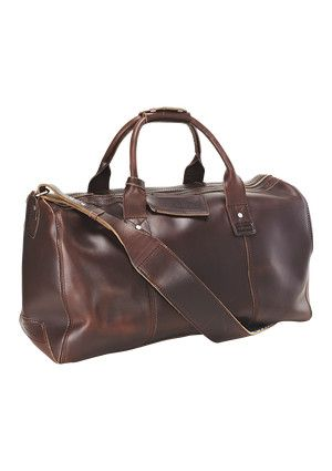Vintage stressed leather gents travel bag