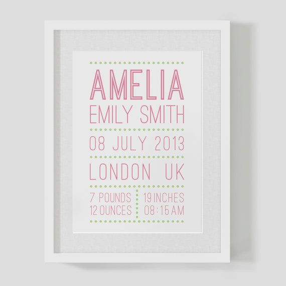 Personalised name and date announcement baby girl — Christening print / poster — Nursery Art — FREE WORLDWIDE SHIPPING