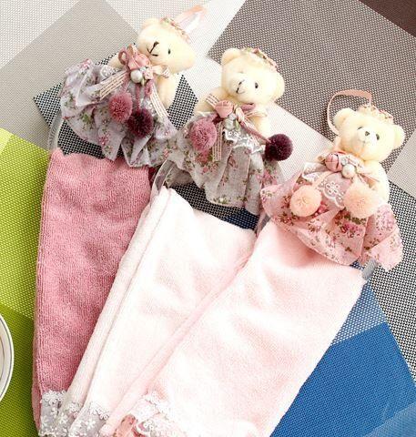Amazon.co.jp: 【ノーブランド品】 かわいい 花柄 ドレス テディベア リングハンガー付き 飾れる タオル ドレスタオル (ピンク): ホーム&キッチン